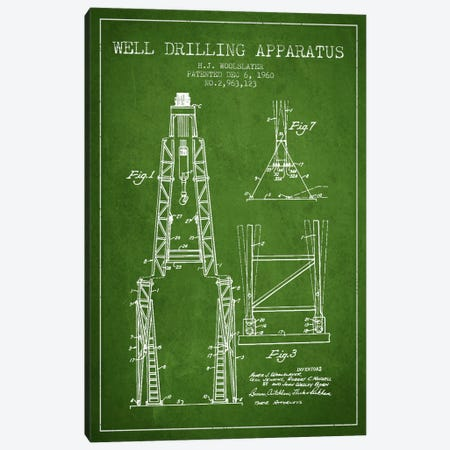 Drilling Apparatus Green Patent Blueprint Canvas Print #ADP1515} by Aged Pixel Canvas Art Print