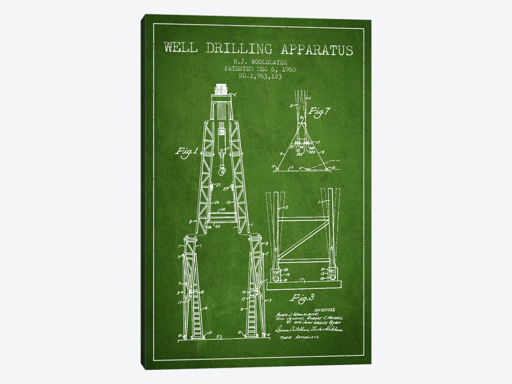 Drilling Apparatus Green Patent Blueprint by Aged Pixel 1-piece Canvas Wall Art