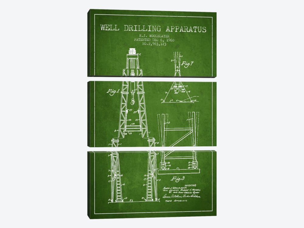 Drilling Apparatus Green Patent Blueprint by Aged Pixel 3-piece Canvas Wall Art