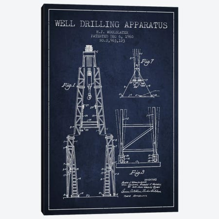 Drilling Apparatus Navy Blue Patent Blueprint Canvas Print #ADP1516} by Aged Pixel Art Print