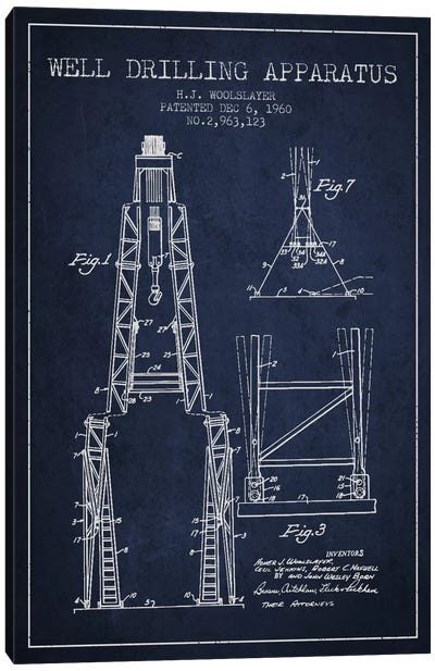 Drilling Apparatus Navy Blue Patent Blueprint Canvas Art Print