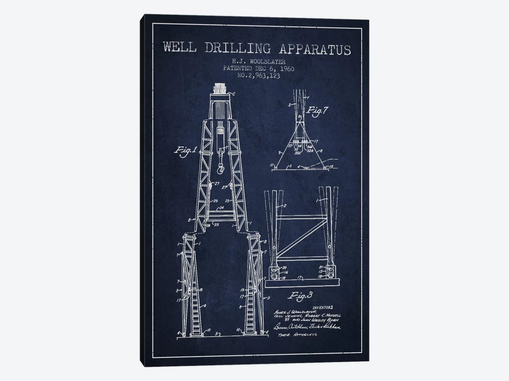 Drilling Apparatus Navy Blue Patent Blueprint by Aged Pixel 1-piece Canvas Art Print
