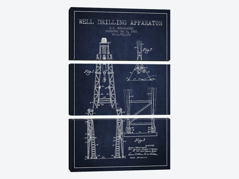 Drilling Apparatus Navy Blue Patent Blueprint by Aged Pixel 3-piece Canvas Print