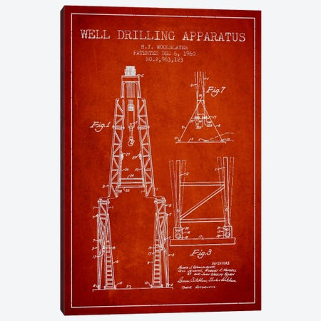 Drilling Apparatus Red Patent Blueprint Canvas Print #ADP1517} by Aged Pixel Canvas Print