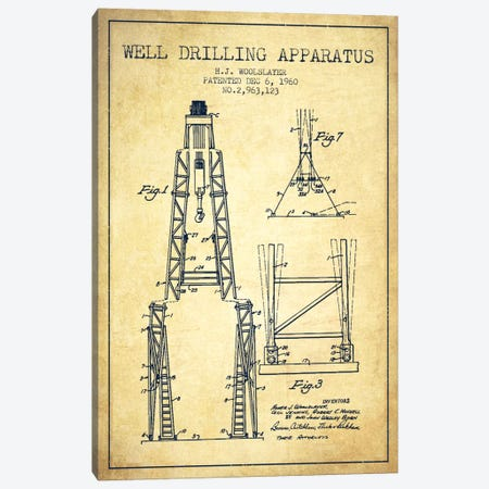 Drilling Apparatus Vintage Patent Blueprint Canvas Print #ADP1518} by Aged Pixel Canvas Artwork
