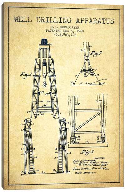 Drilling Apparatus Vintage Patent Blueprint Canvas Art Print