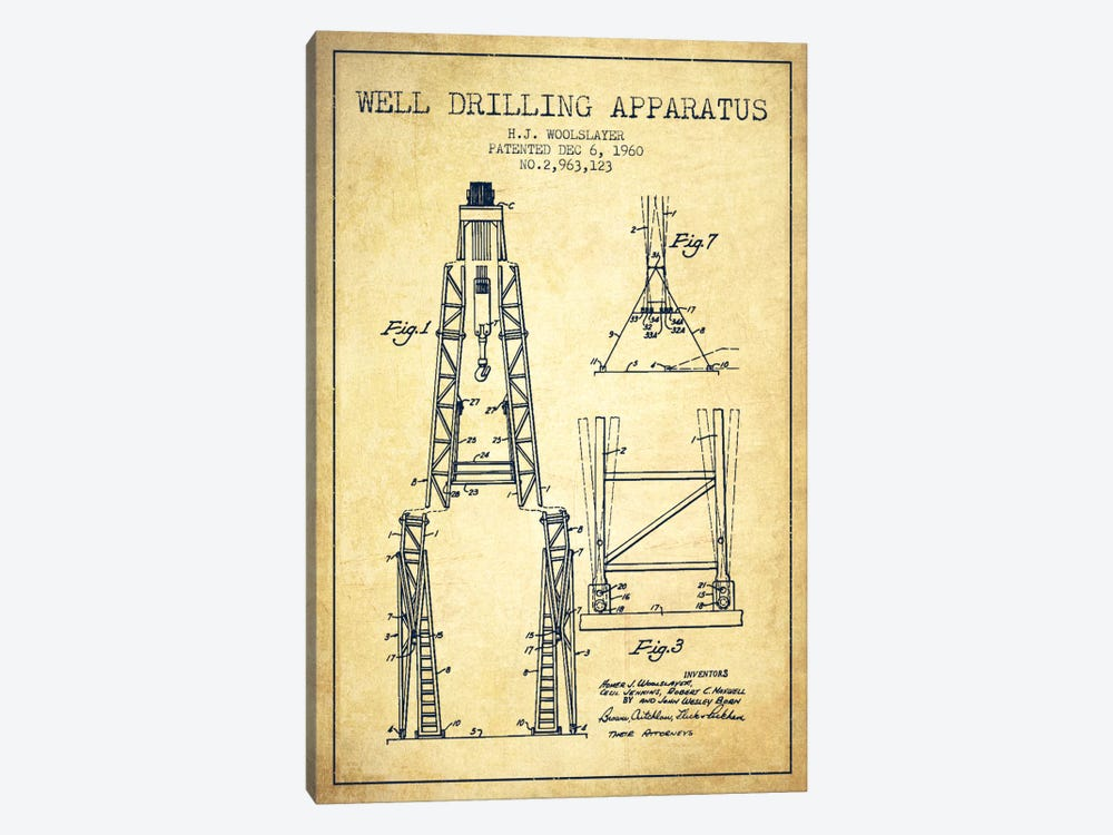 Drilling Apparatus Vintage Patent Blueprint by Aged Pixel 1-piece Canvas Print