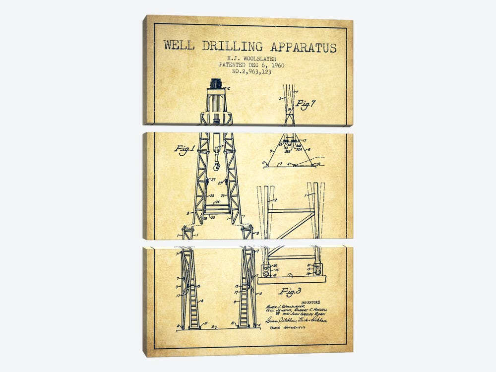 Drilling Apparatus Vintage Patent Blueprint by Aged Pixel 3-piece Art Print