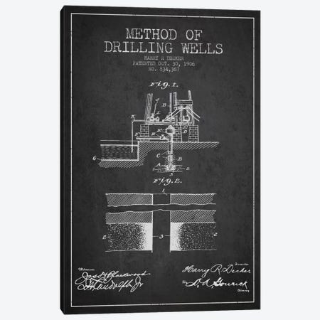 Method Drilling Wells Charcoal Patent Blueprint 3-Piece Canvas #ADP1519} by Aged Pixel Canvas Art