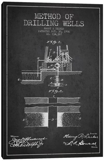 Method Drilling Wells Charcoal Patent Blueprint Canvas Art Print