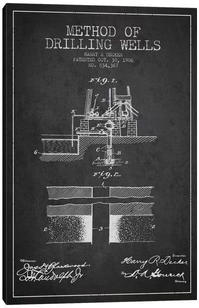Method Drilling Wells Charcoal Patent Blueprint Canvas Art Print