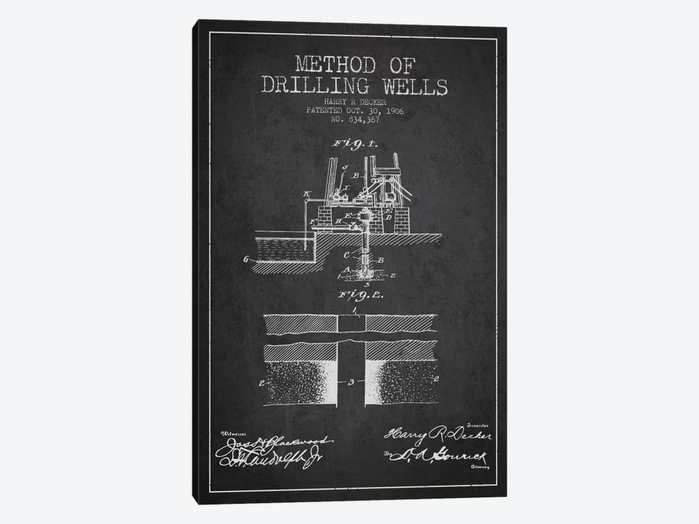 Method Drilling Wells Charcoal Patent Blueprint by Aged Pixel 1-piece Canvas Artwork
