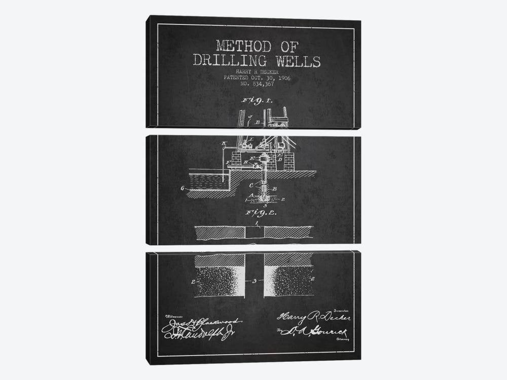 Method Drilling Wells Charcoal Patent Blueprint by Aged Pixel 3-piece Canvas Wall Art