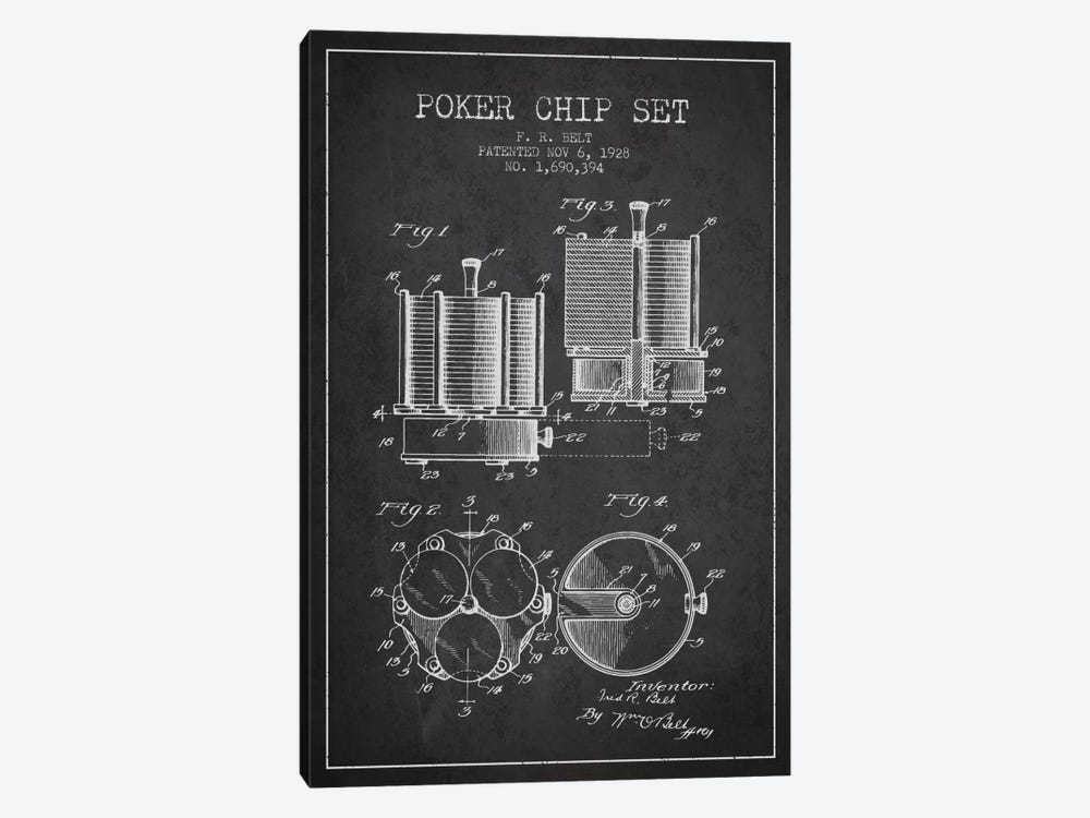 Poker Chips 1 Charcoal Patent Blueprint by Aged Pixel 1-piece Canvas Wall Art