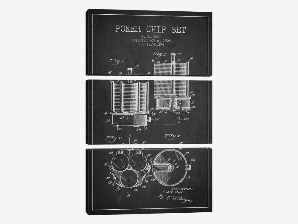 Poker Chips 1 Charcoal Patent Blueprint by Aged Pixel 3-piece Canvas Artwork