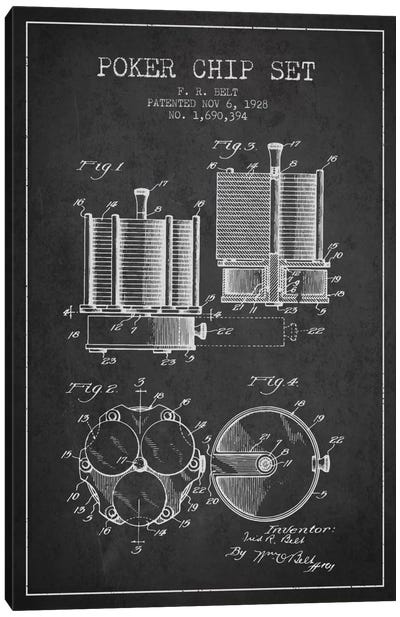 Poker Chips 1 Charcoal Patent Blueprint Canvas Art Print
