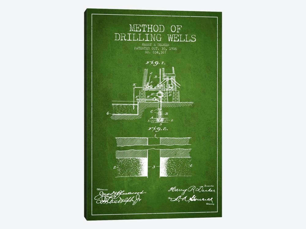 Method Drilling Wells Green Patent Blueprint by Aged Pixel 1-piece Canvas Art