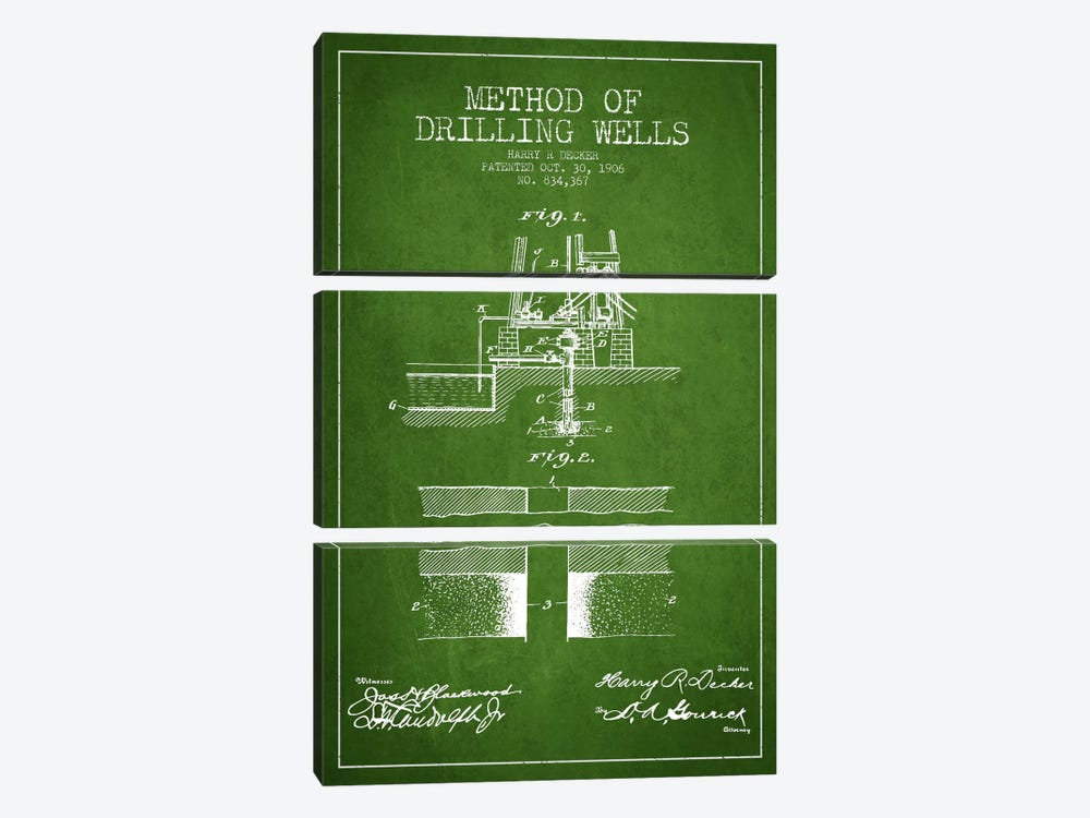 Method Drilling Wells Green Patent Blueprint by Aged Pixel 3-piece Canvas Wall Art