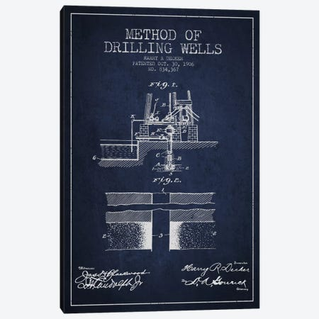Method Drilling Wells Navy Blue Patent Blueprint Canvas Print #ADP1521} by Aged Pixel Canvas Art Print