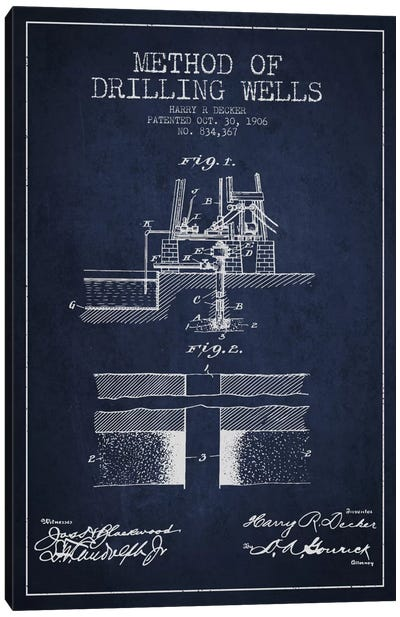 Method Drilling Wells Navy Blue Patent Blueprint Canvas Art Print