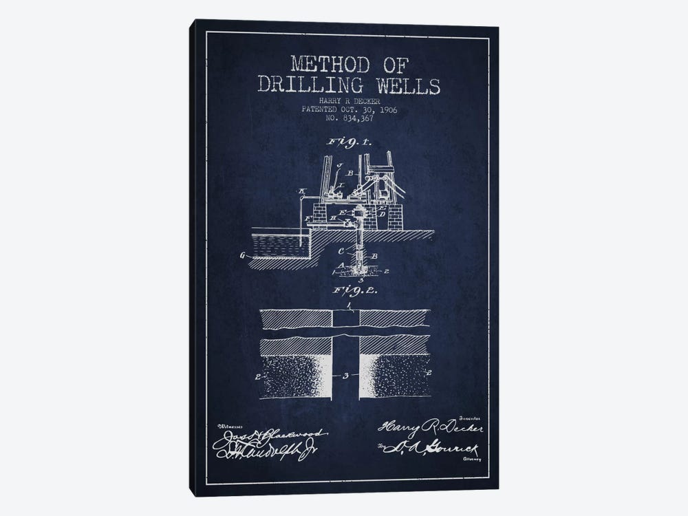 Method Drilling Wells Navy Blue Patent Blueprint by Aged Pixel 1-piece Art Print