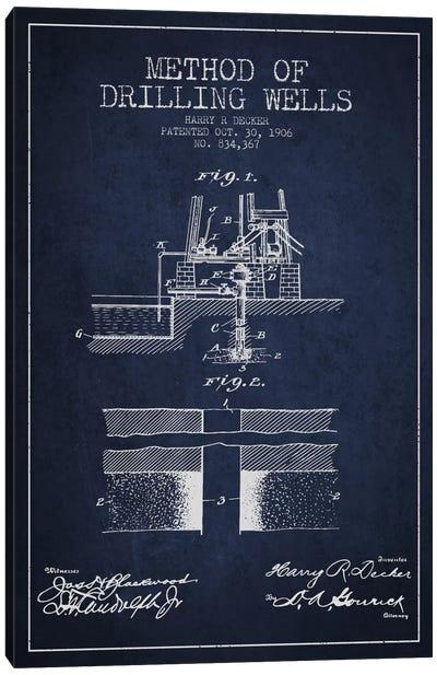 Method Drilling Wells Navy Blue Patent Blueprint Canvas Art Print