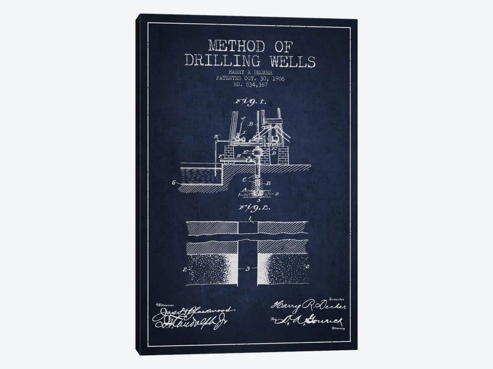 Method Drilling Wells Navy Blue Patent Blueprint by Aged Pixel 1-piece Art Print