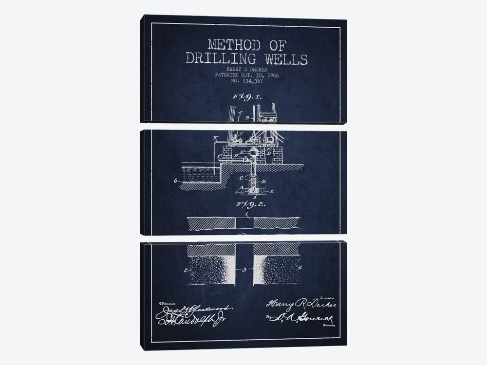 Method Drilling Wells Navy Blue Patent Blueprint by Aged Pixel 3-piece Canvas Print