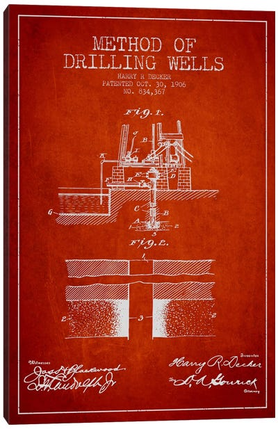 Method Drilling Wells Red Patent Blueprint Canvas Art Print