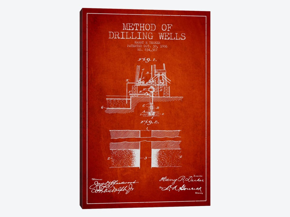 Method Drilling Wells Red Patent Blueprint by Aged Pixel 1-piece Canvas Art