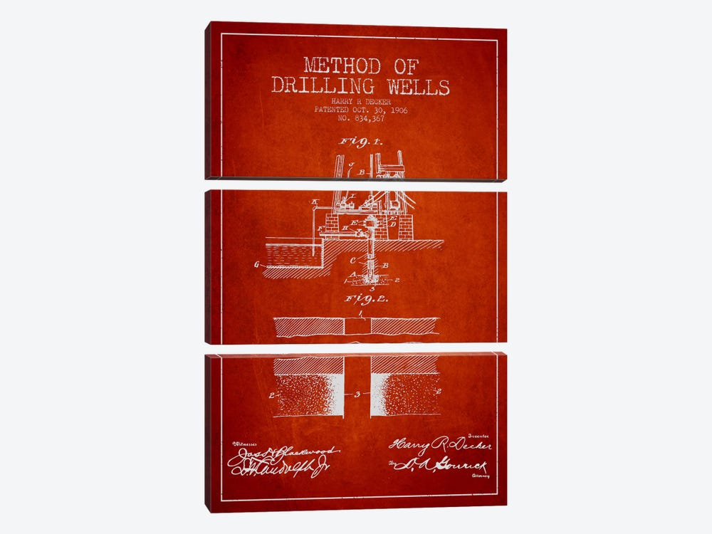 Method Drilling Wells Red Patent Blueprint by Aged Pixel 3-piece Canvas Art