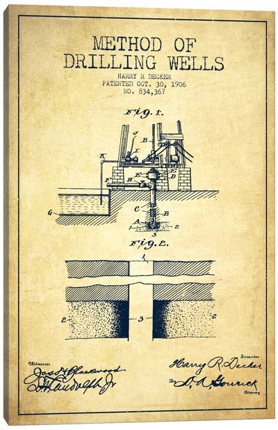 Method Drilling Wells Vintage Patent Blueprint Canvas Art Print