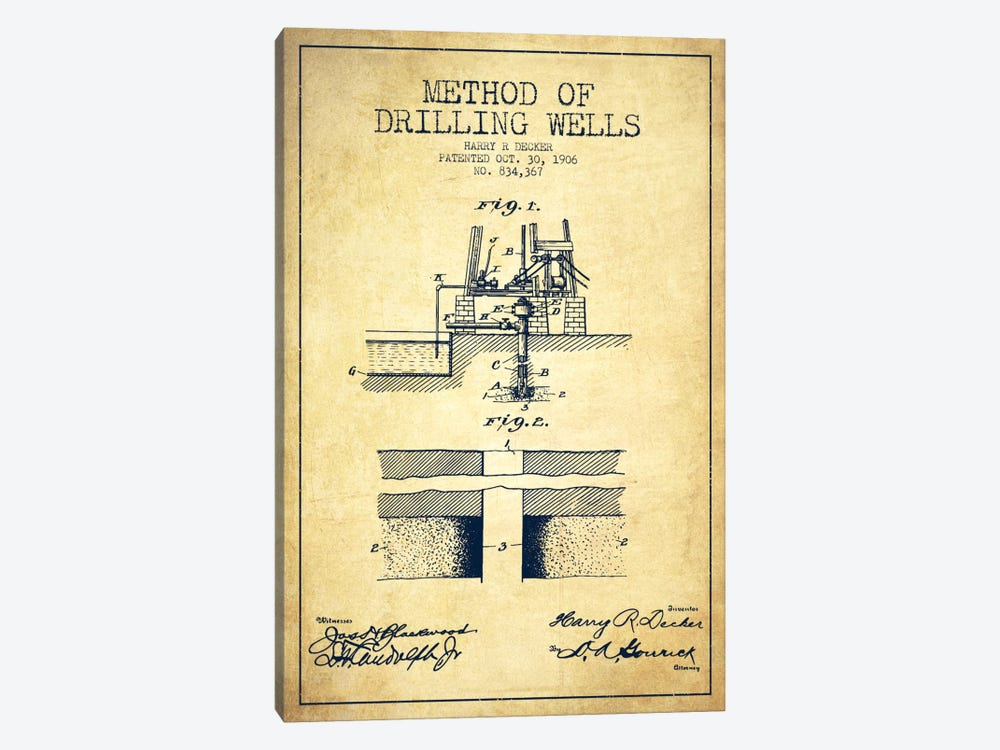 Method Drilling Wells Vintage Patent Blueprint by Aged Pixel 1-piece Canvas Art Print