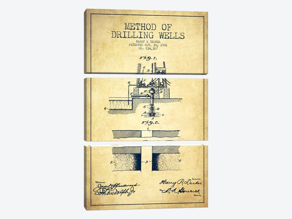 Method Drilling Wells Vintage Patent Blueprint by Aged Pixel 3-piece Art Print