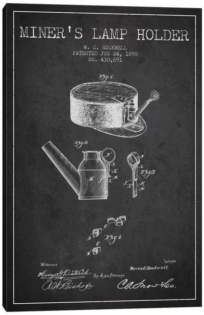 Miners Lamp 2 Charcoal Patent Blueprint Canvas Art Print
