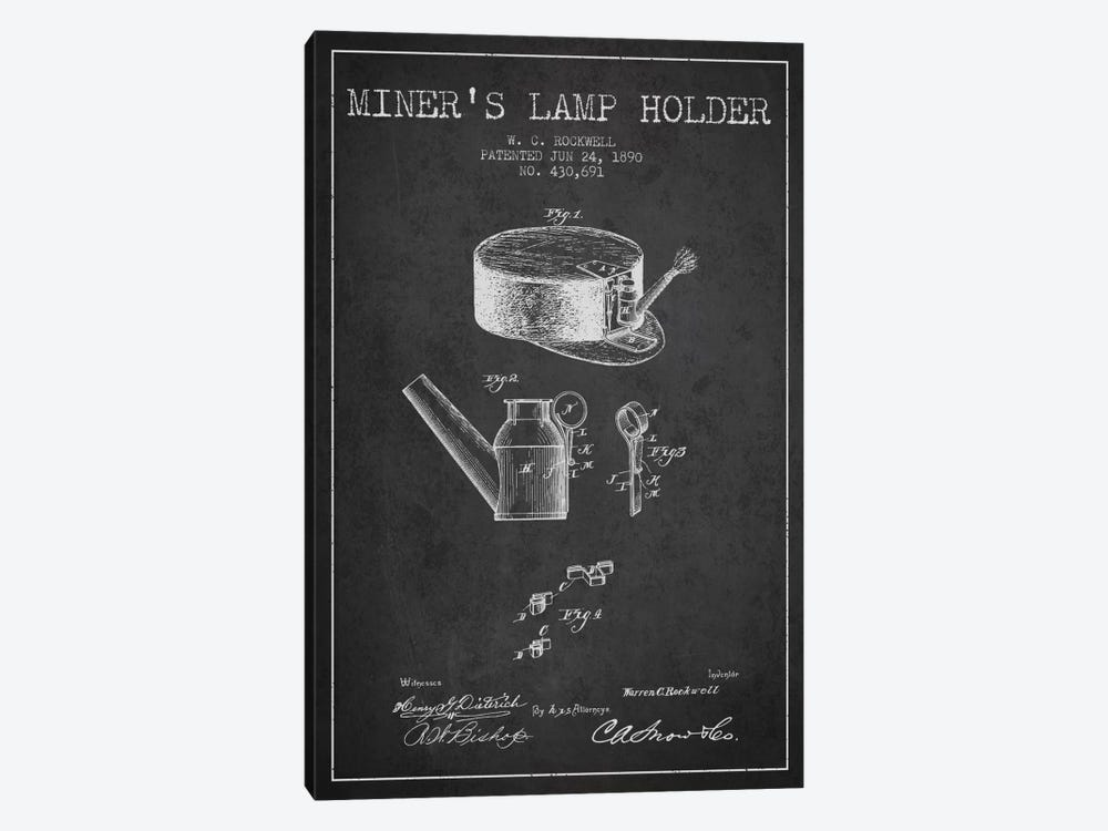 Miners Lamp 2 Charcoal Patent Blueprint by Aged Pixel 1-piece Canvas Wall Art