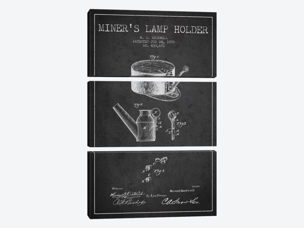 Miners Lamp 2 Charcoal Patent Blueprint by Aged Pixel 3-piece Canvas Wall Art