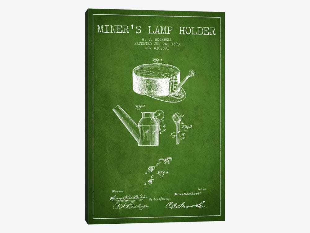 Miners Lamp 2 Green Patent Blueprint 1-piece Art Print