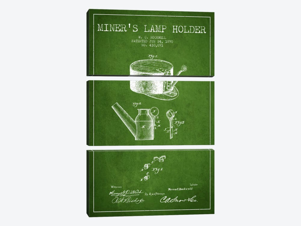 Miners Lamp 2 Green Patent Blueprint by Aged Pixel 3-piece Art Print