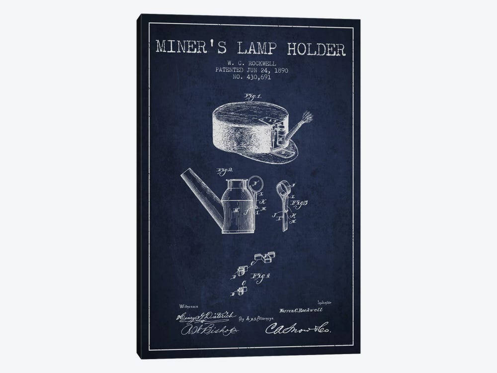 Miners Lamp 2 Navy Blue Patent Blueprint by Aged Pixel 1-piece Canvas Art