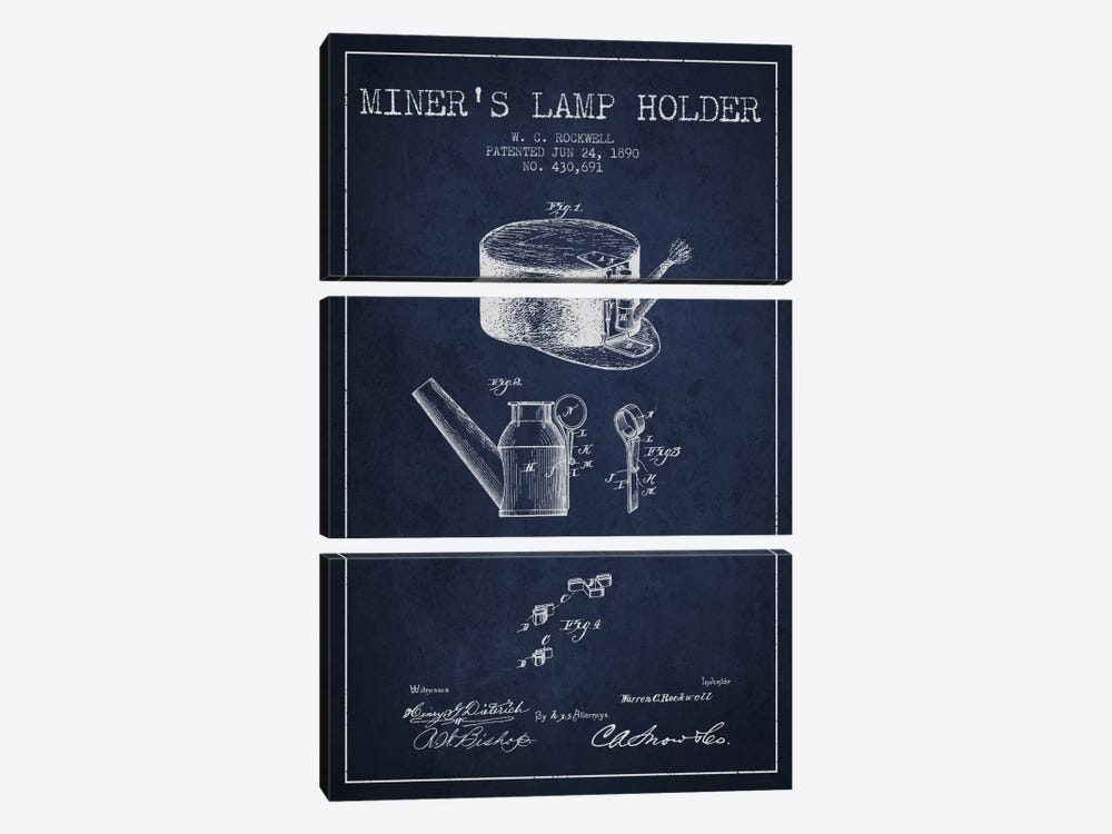 Miners Lamp 2 Navy Blue Patent Blueprint by Aged Pixel 3-piece Canvas Artwork