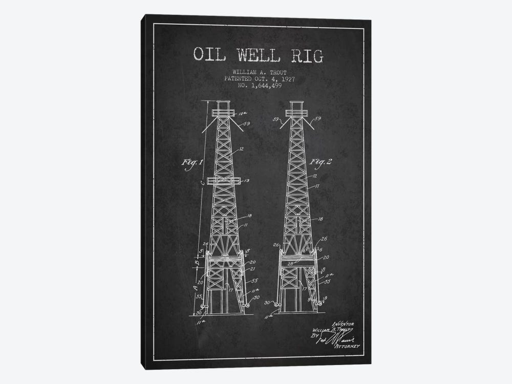Oil Well Derrick Charcoal Patent Blueprint by Aged Pixel 1-piece Art Print