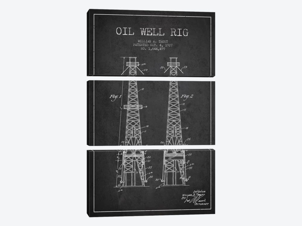 Oil Well Derrick Charcoal Patent Blueprint by Aged Pixel 3-piece Canvas Print