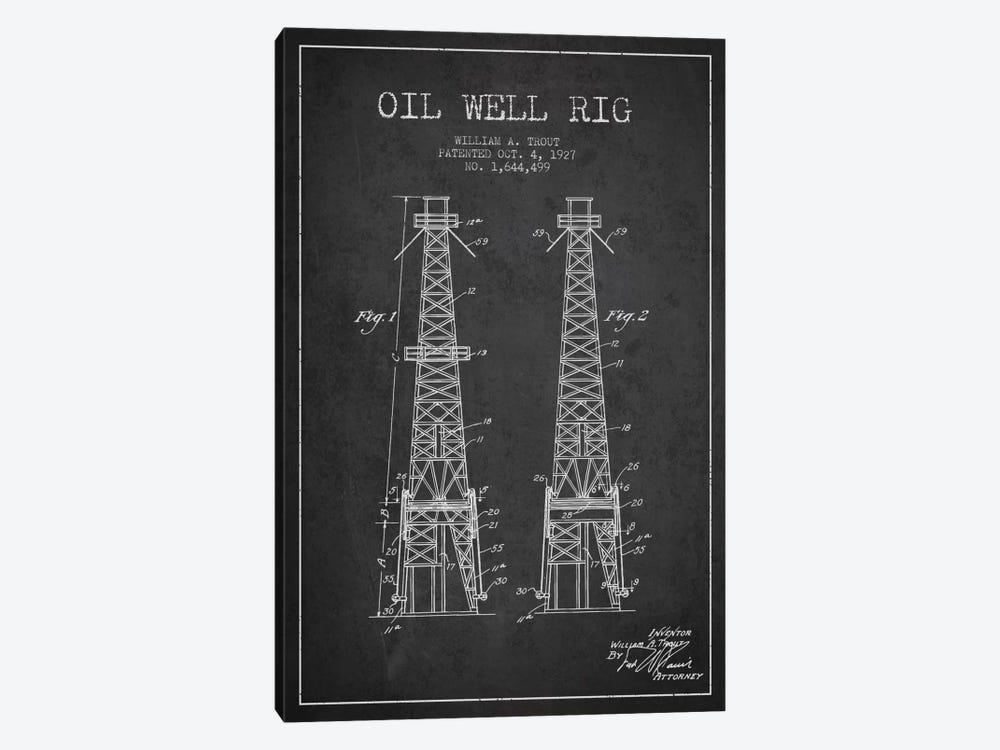 Oil Well Derrick Charcoal Patent Blueprint by Aged Pixel 1-piece Art Print