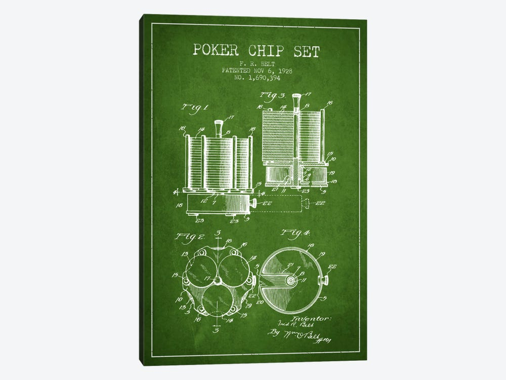 Poker Chips 1 Green Patent Blueprint by Aged Pixel 1-piece Canvas Art Print