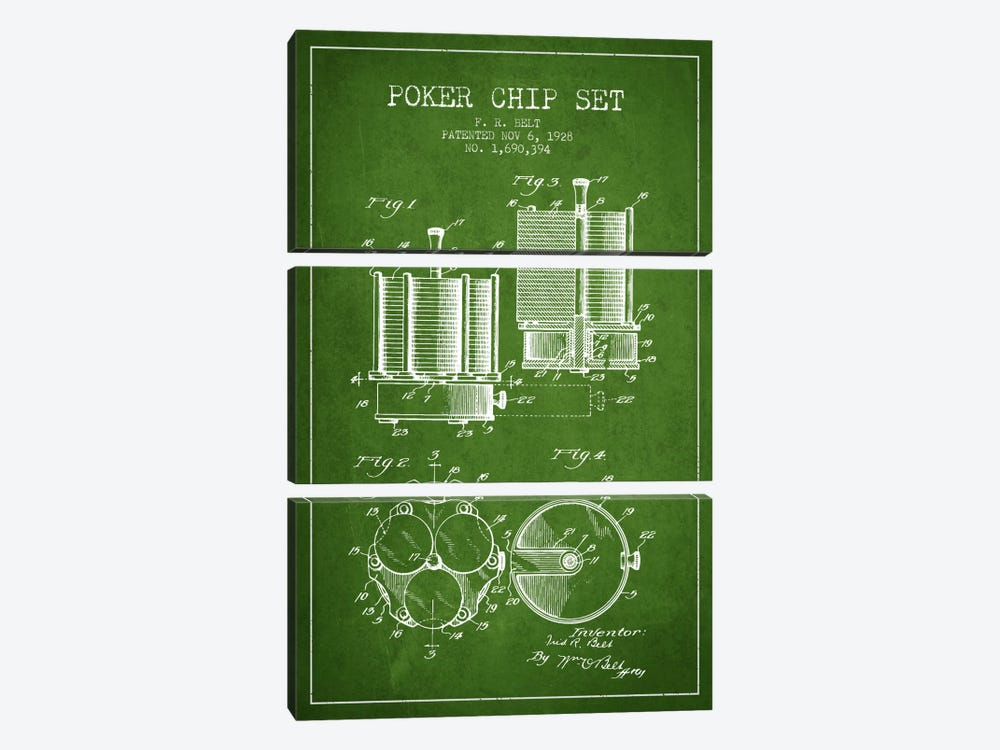 Poker Chips 1 Green Patent Blueprint by Aged Pixel 3-piece Canvas Print