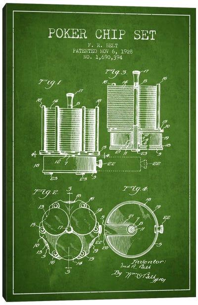 Poker Chips 1 Green Patent Blueprint Canvas Art Print