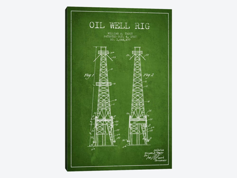 Oil Well Derrick Green Patent Blueprint by Aged Pixel 1-piece Canvas Print
