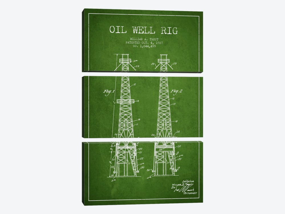 Oil Well Derrick Green Patent Blueprint by Aged Pixel 3-piece Canvas Art Print