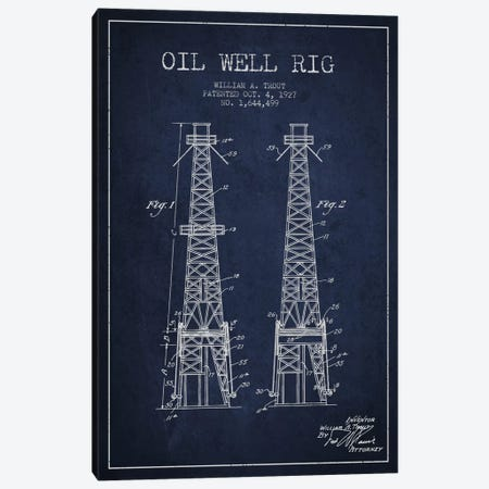 Oil Well Derrick Navy Blue Patent Blueprint Canvas Print #ADP1531} by Aged Pixel Canvas Wall Art